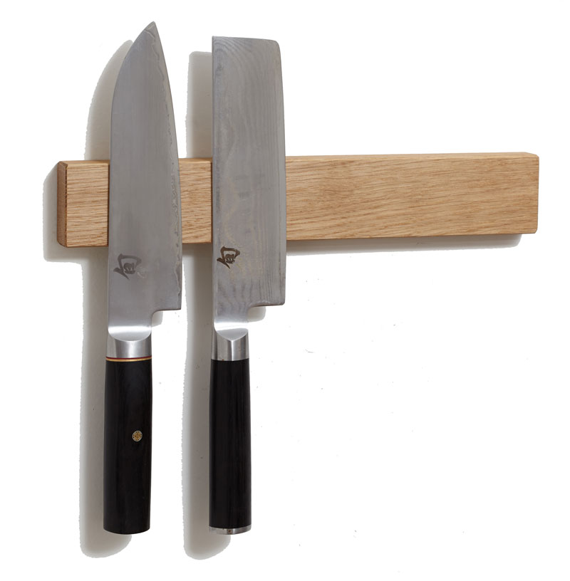 White Oak Wood Classic Magnetic Knife Strip 12 Inch Knife Holder