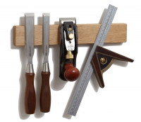 White Oak wood magnetic knife holder or magnetic knife strip with tools by M.O.C. Woodworks